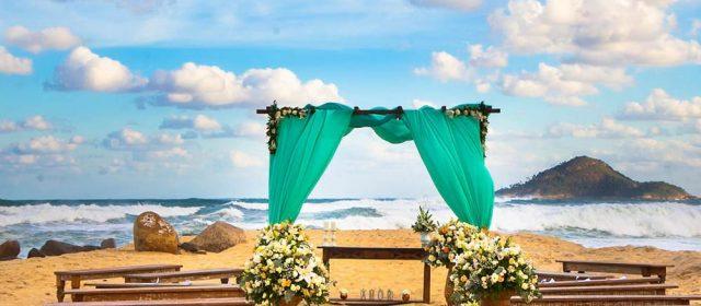 casamento na praia na cor tiffany